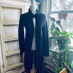 Ralph Lauren Black Cotton Longline Duster Cardigan